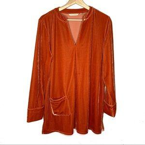 Soft Surroundings Luca velvet tunic top orange